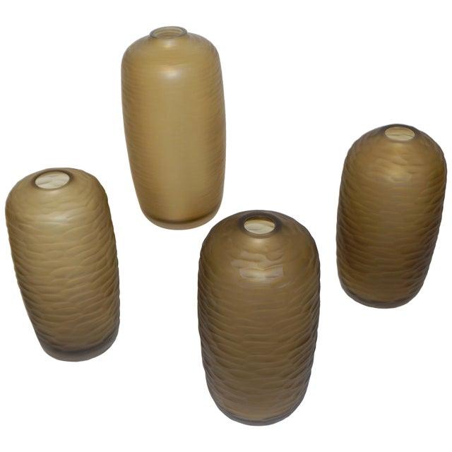 Salviati Vintage Italian Smoked Amber Gold Battuto Murano Art Glass Vases - Set of 4 For Sale - Image 12 of 12