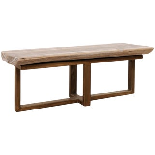 Organic Modern Petrified Wood Coffee Table For Sale