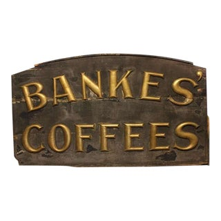 1800's Hand Made Banke's Coffees Sign For Sale