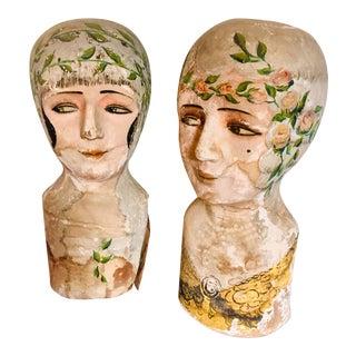 1920s Vintage Papier-Mâché Hat Model Busts - a Pair For Sale