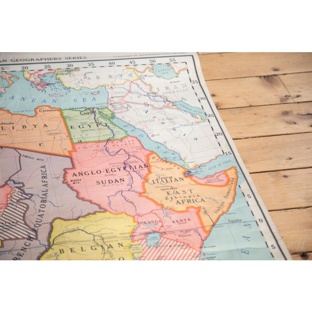 Vintage Classroom Pull Down Map of Africa | Chairish