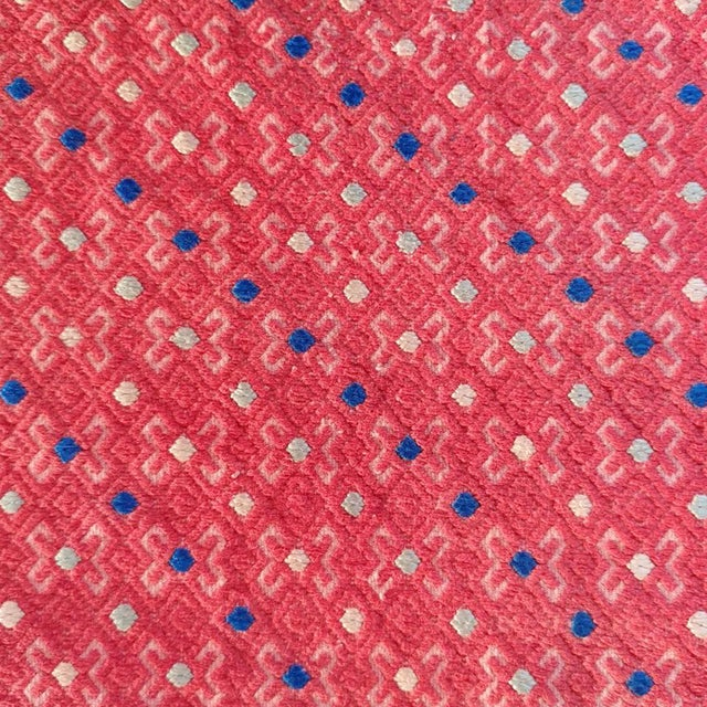 Vintage fabric in coral red with accents of blue and off white. Authentic Mongolian & Chinese vintage Miao wedding blanket...