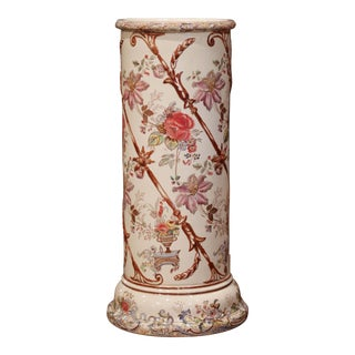 Mid-19th Century Napoleon III French Hand Painted Porcelain Umbrella Stand For Sale