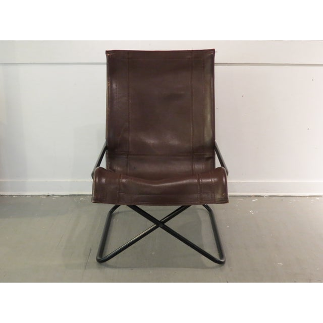 Vintage MCM Uchida Leather Sling Chair For Sale - Image 11 of 11