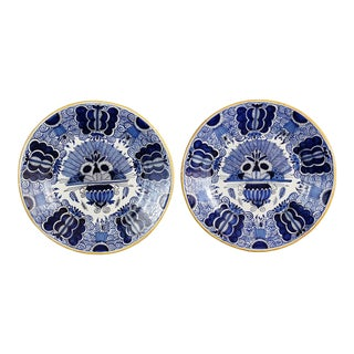 Antique Dutch Delft 'Peacock' Plates, Signed, a Pair For Sale