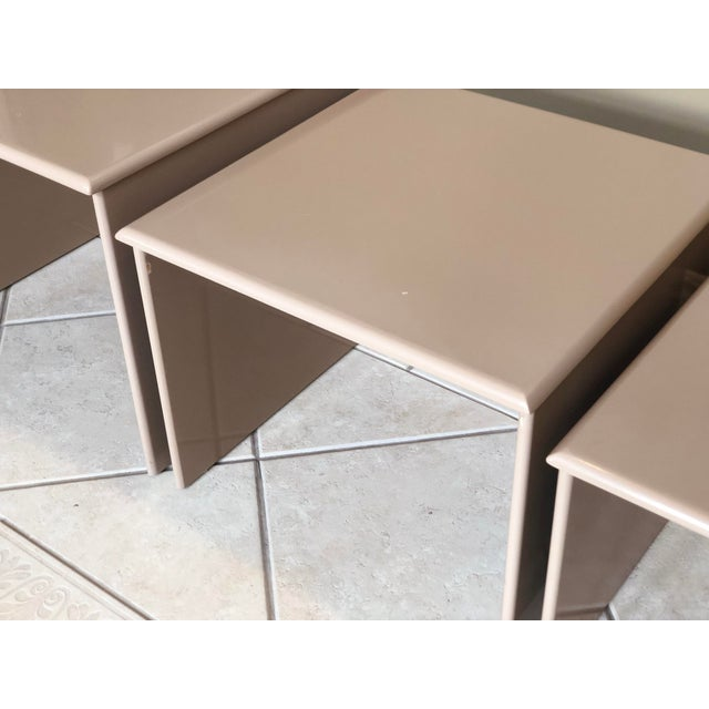 1980s Contemporary Tan Laquer Nesting Tables - Set of 3 For Sale In Detroit - Image 6 of 9