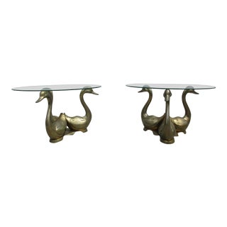 20th Century Hollywood Regency Brass and Glass Swan Tables - a Pair For Sale