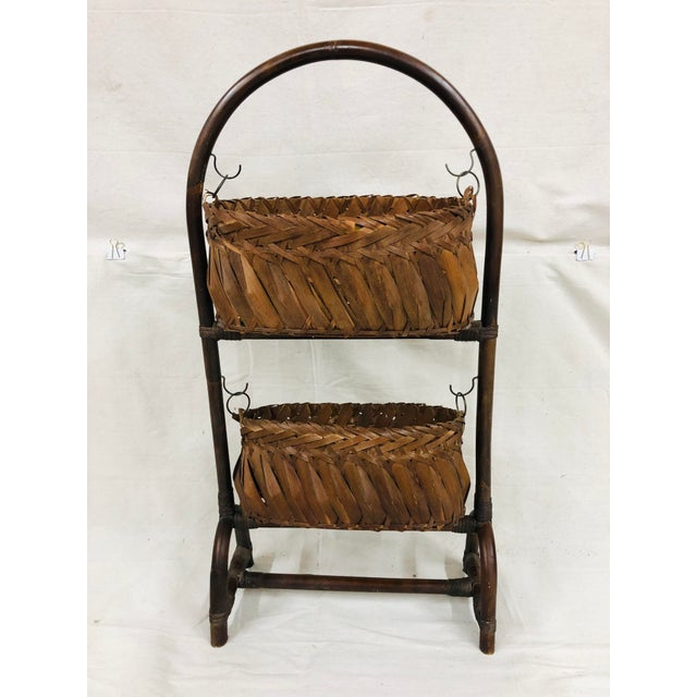 Brown Mid-Century Bentwood Two Basket Organizer For Sale - Image 8 of 11