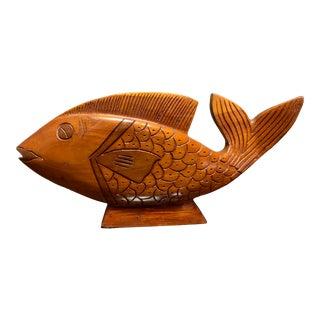 Vintage Hand Carved Wood Fish For Sale