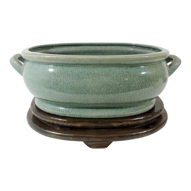 Vintage Asian Crackleware Oval Celadon Green Planter on Custom Wood Stand For Sale
