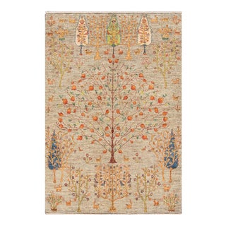 Apadana - Contemporary Beige Indian Gabbeh-Style Carpet, 5' x 7'5""