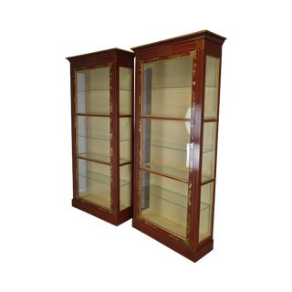 Baker Collector's Edition Red & Gold Chinoserie Painted Tall Curio Display Cabinets For Sale