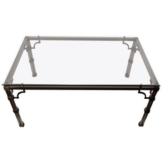 Chrome and Brass Glass-Top Dining Table For Sale