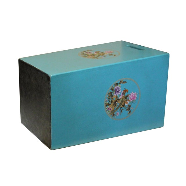 Asian Light Blue Turquoise Square Flower Bird Graphic Bucket Basket For Sale - Image 3 of 7
