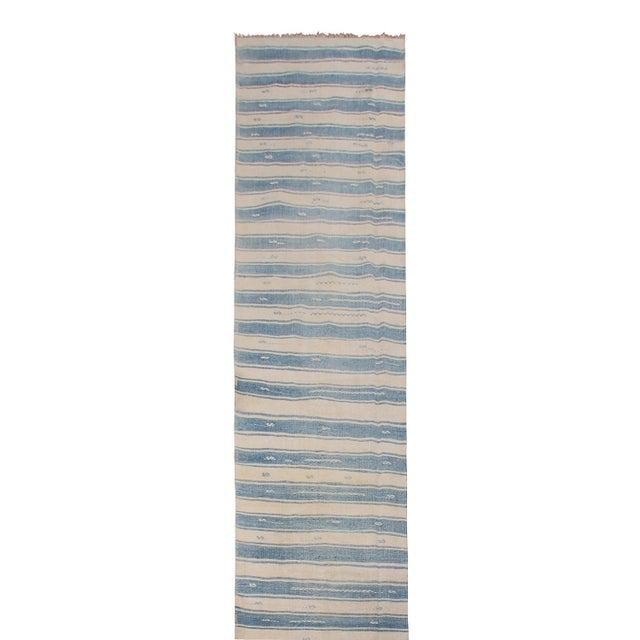 "Contemporary Vintage Malatya Geometric Blue Gray Wool Kilim Runner-2'5'x15'5"" For Sale - Image 3 of 8"