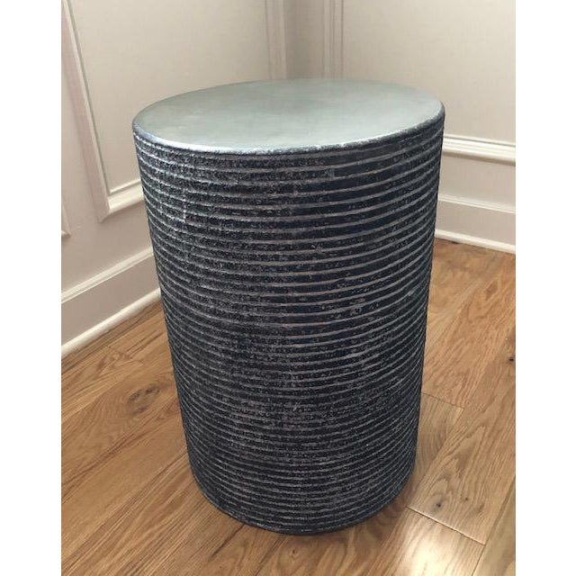 Organic Modern Round Cerused Accent Table For Sale - Image 4 of 4