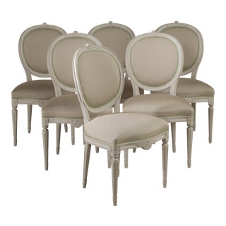 A Set of Six Swedish Medalion Chairs circa 1880 For Sale