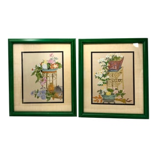 Vintage Chinoiserie Still Life Botanical Lithograph Prints – a Pair For Sale