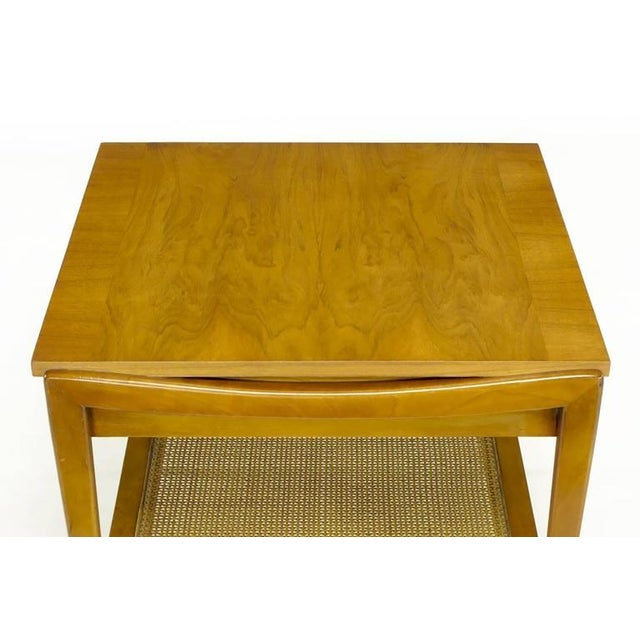 Pair Widdicomb Bleached Walnut & Cane Single Drawer End Tables - Image 8 of 10