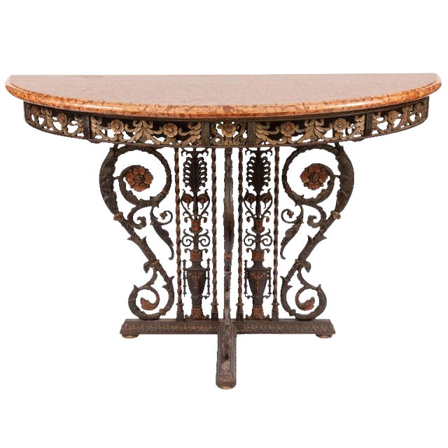 20th Century Italian Bronze and Iron Marble-Top Console For Sale