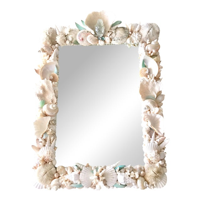 Christa's South Seashells Custom Seashell & Coral Hall or Bathroom Mirror For Sale - Image 4 of 4