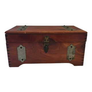 Americana Dovetailed Wood & Brass Box For Sale