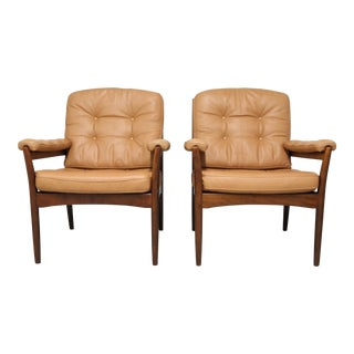 "Vintage Mid Century Göte Möbler ""Carmen"" Leather Armchairs- a Pair For Sale"