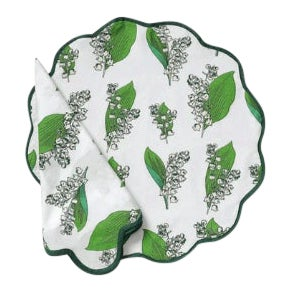 Lily-Of-The-Valley Napkins and Placemats - Set of 8 For Sale