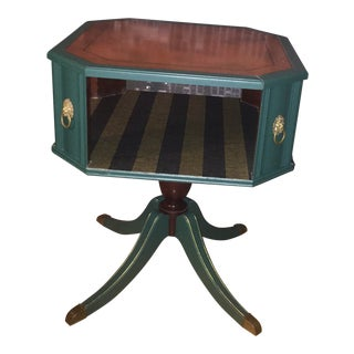 Dark Green Antique Side Table For Sale