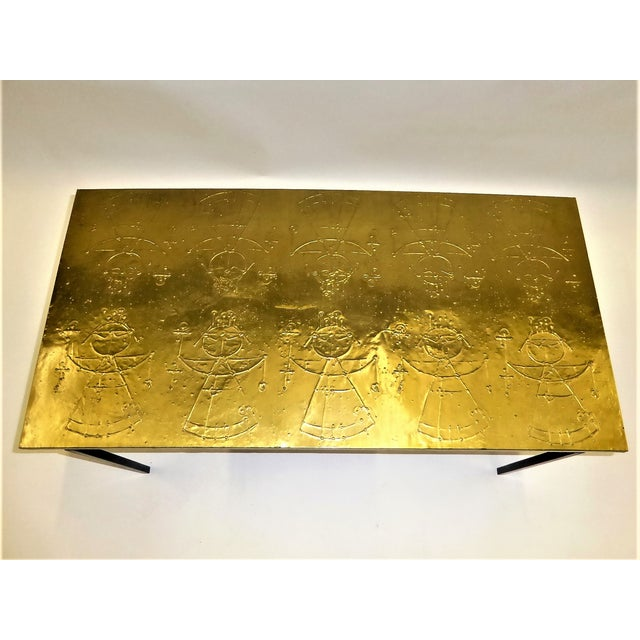 Gold MidCentury Modern Raymor Scandinavian Repousse Brass Coffee Table 1960s For Sale - Image 8 of 13