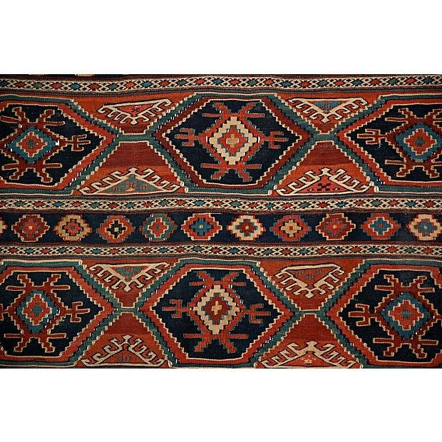 """Caucasian Kilim Rug: 19th Century Caucasian Kilim Rug - 3'8"""" X 3'6"""""""
