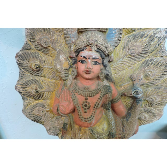 Asian Old Terra Cotta Hindu Goddess Figure With Peacock For Sale - Image 3 of 5