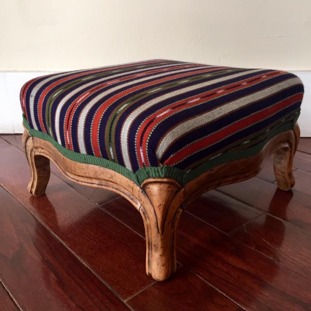 Boho Chic 19th Century Vintage French Wood and Striped Fabric Footstool For Sale - Image 3 of 9