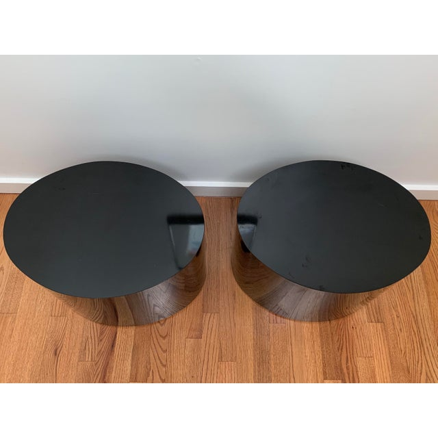 1980s Black Laminate Oval Drum Tables-A Pair For Sale - Image 4 of 11