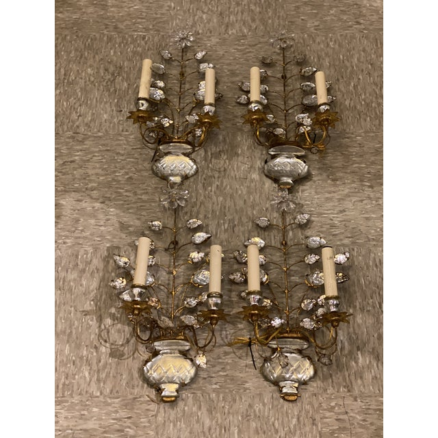 French 1920s Double Light Leaf Design Sconces - a Pair For Sale - Image 3 of 8