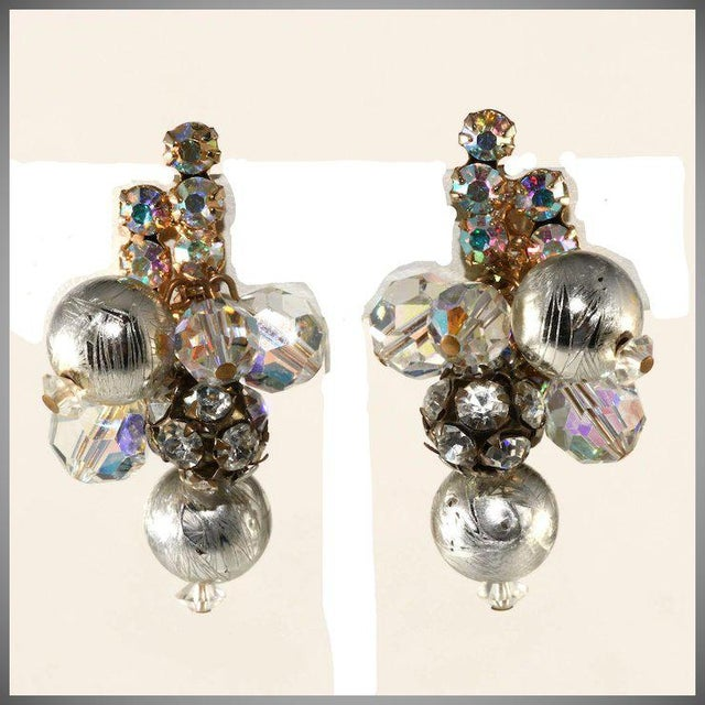Juliana Earrings Silver and Rhinestone Balls Dangles For Sale - Image 4 of 4