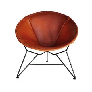 Garza Marfa Leather Chair with Steel Base