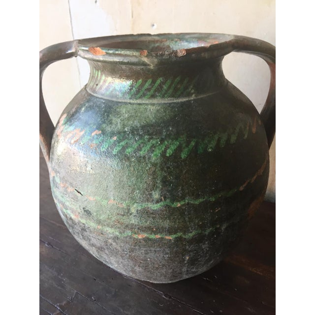 Italian Green Tuscan Pot with Handles For Sale - Image 3 of 7
