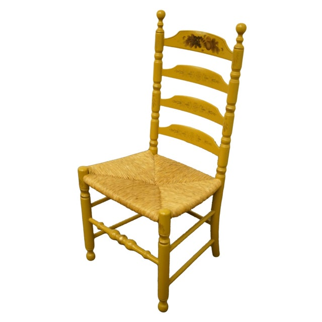 """Authentic Hitchcock Stenciled Ladder Back Accent Side Chair w. Rush Seat 41.25"""" High 19.5"""" Wide 20"""" Deep Seat: 18"""" High We..."""