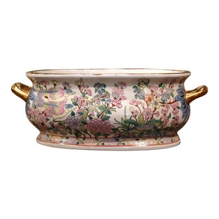 Midcentury Chinese Famille Rose Painted Porcelain and Gilt Foot Bath Bowl For Sale