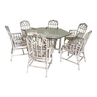 Vintage Bamboo Chippendale Dining Table & Chairs Set