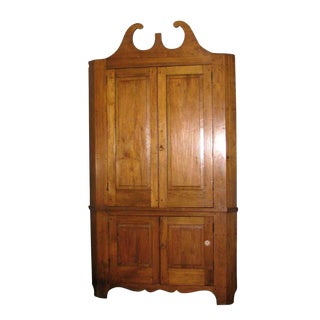 Early American Solid Cherry Wood Corner Cabinet For Sale