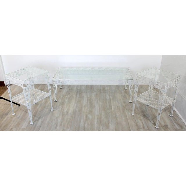 Mid-Century Modern Mid-Century Modern White Set of Patio Tables Coffee Pair Side For Sale - Image 3 of 12