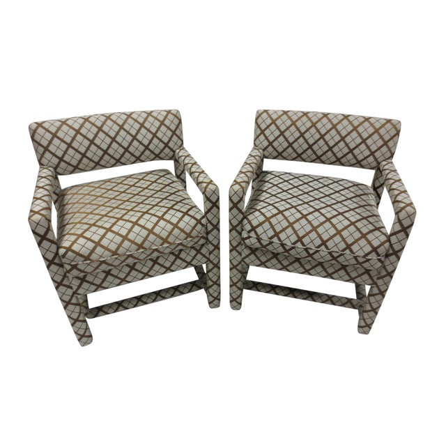 Mid-Century Brown & White Armchairs - A Pair - Image 1 of 9