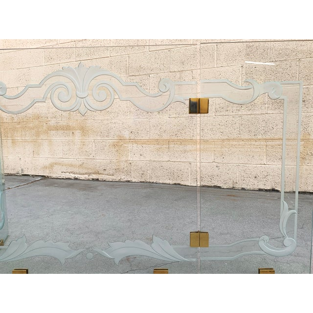 1980s Glass Fireplace Screen With Brass Hinges by Danny Alessandro, Custom Etching For Sale - Image 5 of 8