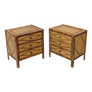 Pair of Burnt Bamboo and Rattan Three-Drawer Small Chests End Table Stands For Sale