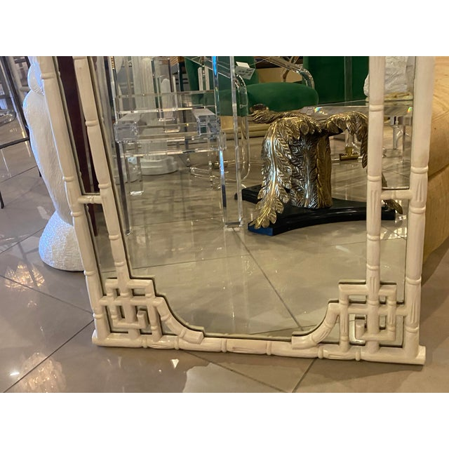 White Vintage Chinese Chippendale White Faux Bamboo Greek Key Wall Mirror For Sale - Image 8 of 12