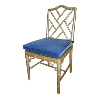 Gold Bamboo & Blue Chair