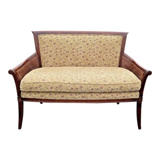 Vintage French Country Ethan Allen Double Cane Floral Settee /Loveseat
