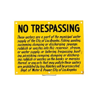 1920s No Trespassing Los Angeles Water & Power Porcelain Sign